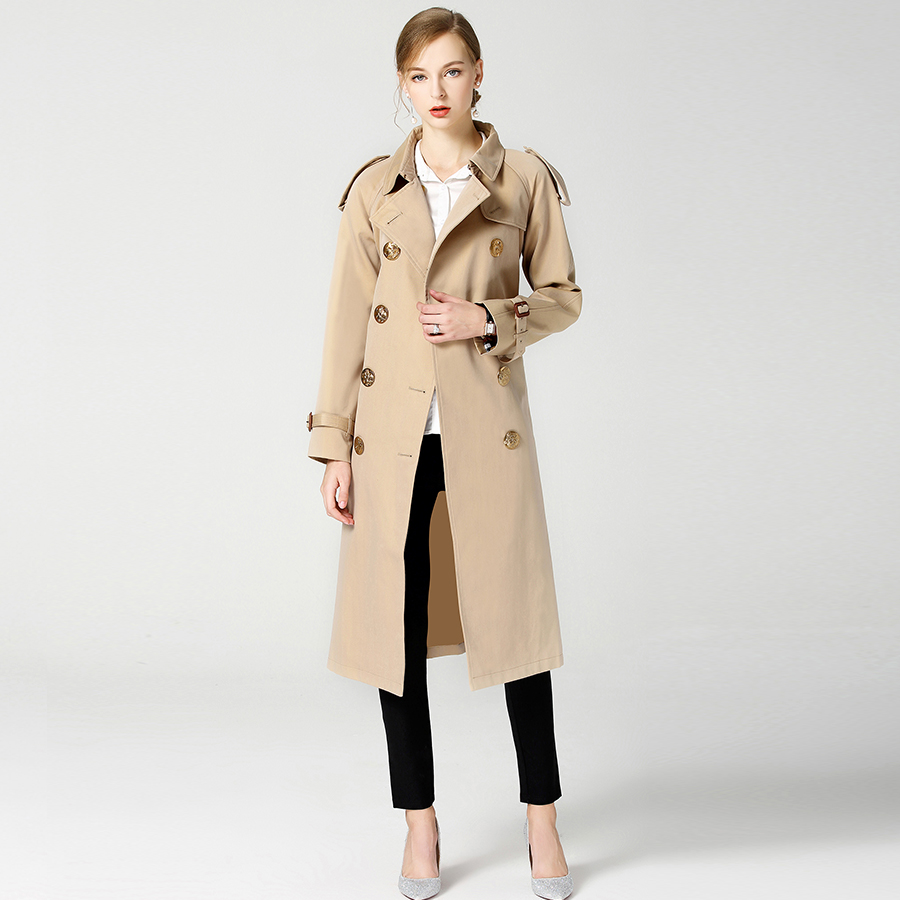 2018 Autumn Winter British New Design B Brand   Trench   Waterproof Elegant Vintage Classic Plaid Womens Long   Trench   Coat