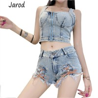 2019 Fashion New Denim Cross Lace UP short Crop tops+tassel short Pants Sexy Denim Suit Summer Women Two Piece Set