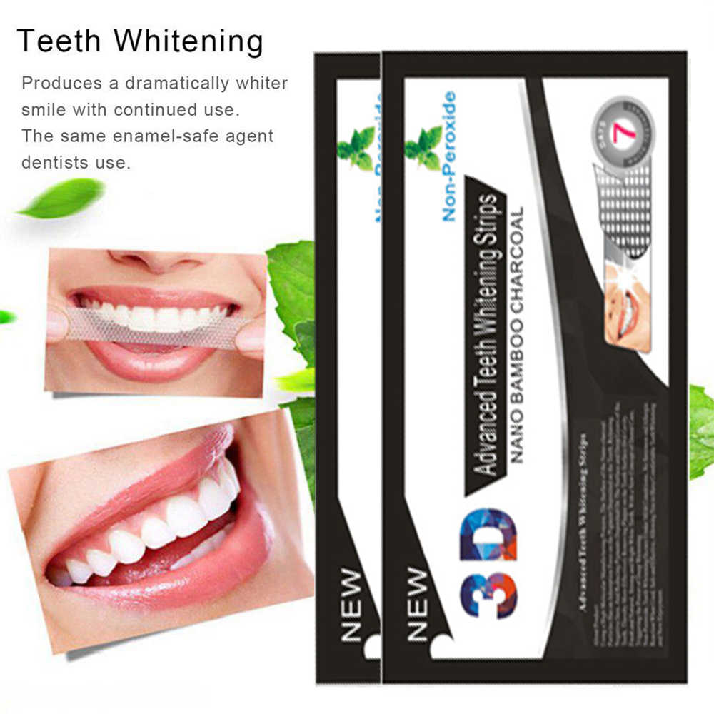 3D Black Teeth Bamboo Charcoal Whitening Patch Stickers Strip Mint Tooth Whitening Strips Professional Oral Care Tool