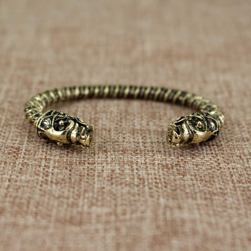 dongsheng Jewelry's Fashion Metal Wolf Head Male Bracelet Vintage Punk Rock Viking Bear Bracelet Men Wristband Cuff Bracelets-25