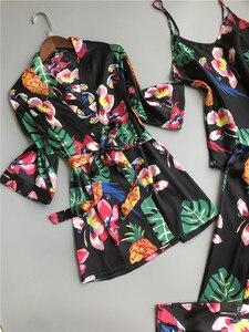 Image 5 - ZOOLIM primavera mujer 3 piezas pijamas de seda conjuntos con pantalones estampado de flores espagueti Correa Pijama satén elegante sensual ropa de casa Pijama