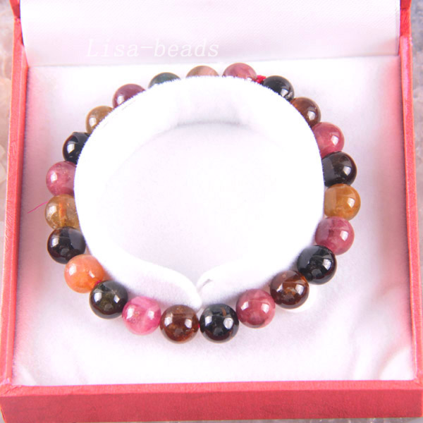 Free Shipping Fine Jewelry Stretch Multi-color 10MM Round Beads 100% Natural A Tourmaline Bracelet 7.5 with Box 1Pcs RJ002Free Shipping Fine Jewelry Stretch Multi-color 10MM Round Beads 100% Natural A Tourmaline Bracelet 7.5 with Box 1Pcs RJ002