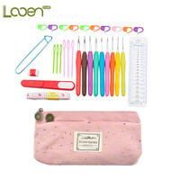 Looen Brand 30Pcs/set Ergonomic Plastic Handles Crochet Hooks Knitting Knit Needles Set 2.0-6mm With Fashion Red Big Ben Bag