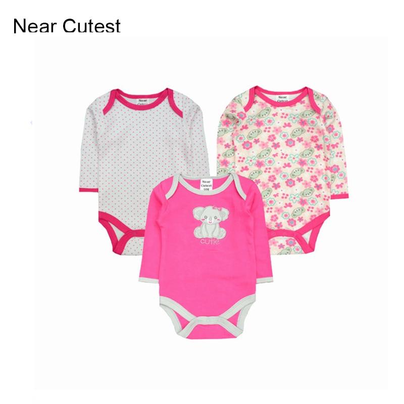 Nära Cutest 3pcs / lot Baby Romper Långärmad Bomull Baby Boy Girl - Babykläder