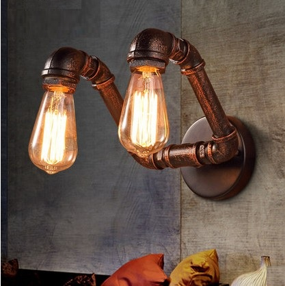 Nordic Loft Style Double Water Pipe Lamp Edison Wall Sconce Industrial Vintage Wall Light Fixtures For Home Indoor Lighting nordic loft style industrial water pipe lamp vintage wall light for home antique bedside edison wall sconce indoor lighting