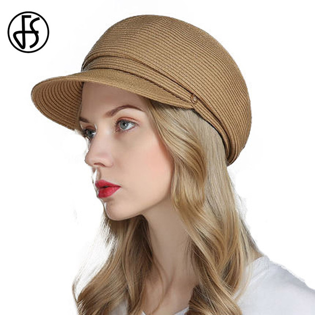 FS Summer Straw Hats For Women French Beret Hat Fashion Beige Dark Blue  Brown Girls Floppy Beach Vintage Boina Feminina db5f2a248f8