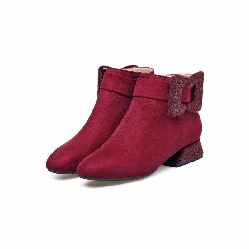 Schwarzes Med Hohe rot Karree Qualität Flock Herbst Schuhe Stiefeletten wein Zip Heels Größe Damen Stiefel Winter Smeeroon Frauen Große Mode TqxnFC1