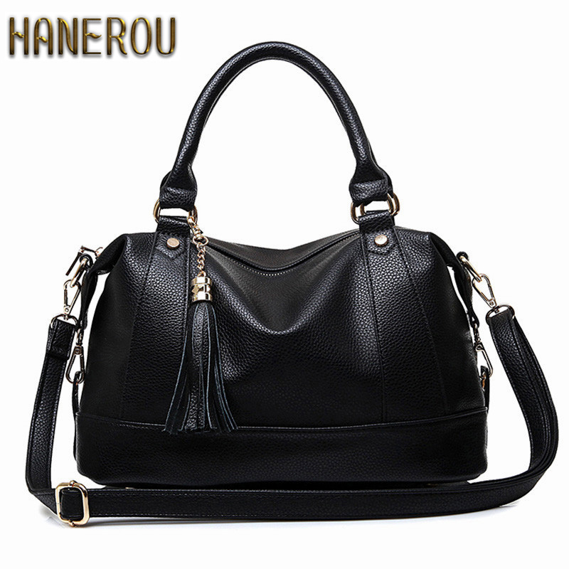 Large Handbags 2018Women Bag Fashion PU Leather Woman Shoulder Bag Casual Tassel Tote Bags Sac A Main Femme Bolsa Feminina Couro women pu leather shoulder bag fashion lady sac a main fashion handbags shell tote crossbody with small bear woman messenger bags