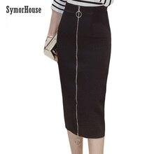 0b743cd43e0b Bandage femmes jupe longue Sexy jupes crayon femmes bureau noir taille  haute fermeture éclair casual Slim jupe femmes crayon gra.