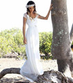2015 a la venta blanco playa De la gasa De la novia viste Backless atractivo De manga corta bohemios vestidos Custom Vestido De Casamento
