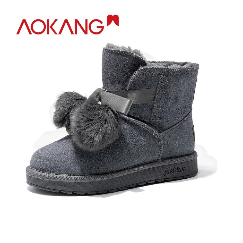 Ayakk.'ten Ayak Bileği Çizmeler'de AOKANG Kış Ayak Bileği Kar Botları Kadın Inek Süet kadın platformu kış ayakkabı pom pom stil Sıcak kürk peluş Astarı botas mujer'da  Grup 2