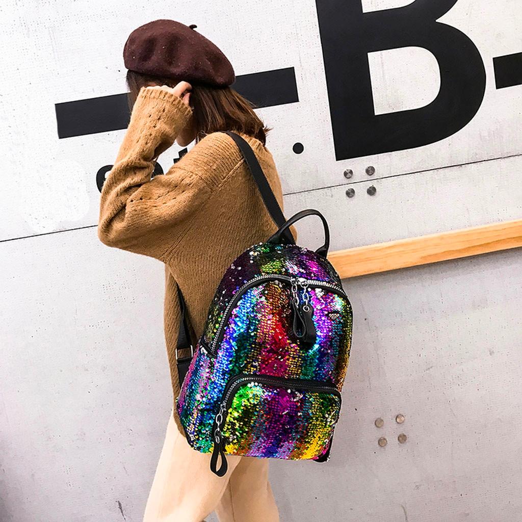 Women Sequins Bling Backpack Girls Portable Hit Color School Bag Backpack PU Leather Student Satchel Travel Mochila Feminina