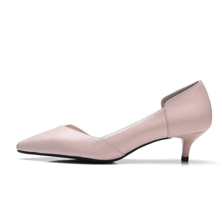 Sur Taille Automne Med En Vache Printemps Bout Glissement Les Femmes Élégant Rose Pu rose Beige Pompes Talons Esveva Pointu 34 Mince Cuir Chaussures Et 2018 41 a17UwU