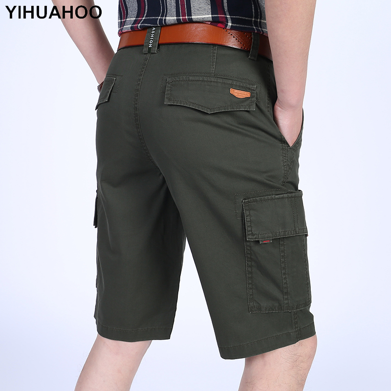 YIHUAHOO Mens Shorts 100% Cotton Knee Length Casual Short Pants With Multi Pockets Solid Bermuda Cargo Shorts For Men LW-8M12