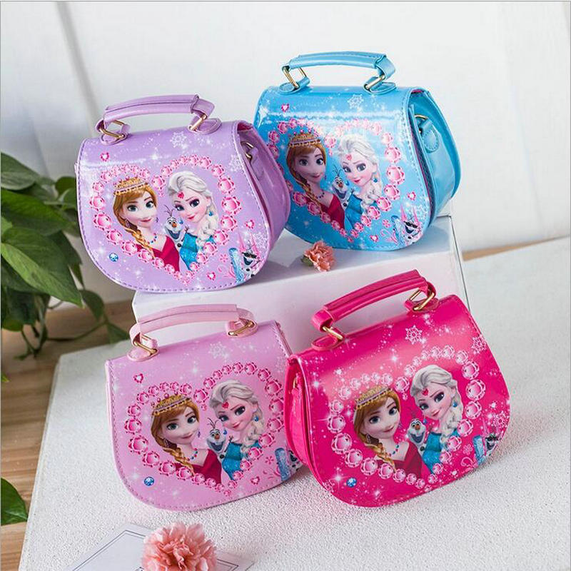 New Fashion PU Girls Cute Handbag Children Cartoon Elsa and Anna Handbag Kids Tote Female Leather Shoulder Bag Mini Messengerbag