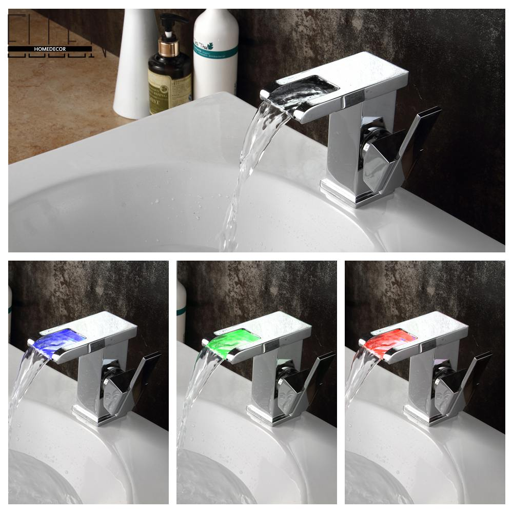 ФОТО Led Faucet Light Water Tap Temperature Controlled Bathroom Waterfall Sink Square Faucet torneira