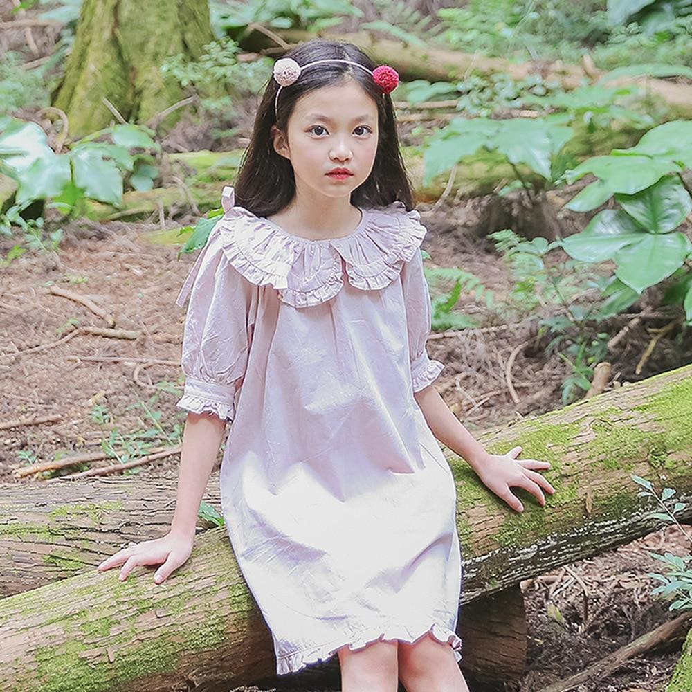 Kids Girl Dress 2018 New Summer Half Sleeves Pink Solid Color O-neck Knee-length Regular Fashion Children Girls Clothes 4ds276 женское платье summer dress 2015cute o women dress