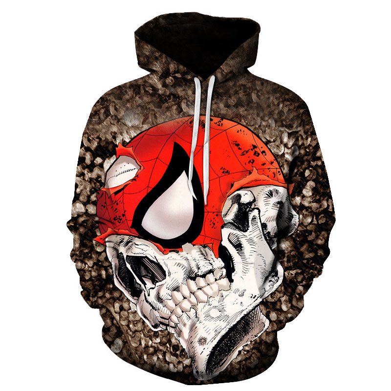 NEW 2019 Autumn Winter Fashion Men/women Hoodies Red Skull head Hooded Hoody Sweatshirt 3D lovely Tracksuits