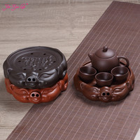 JIA GUI LUO Purple Clay Lucky pig dry bubble Kung Fu tea accessories tea tray home simple modern office casual bar supplies F008