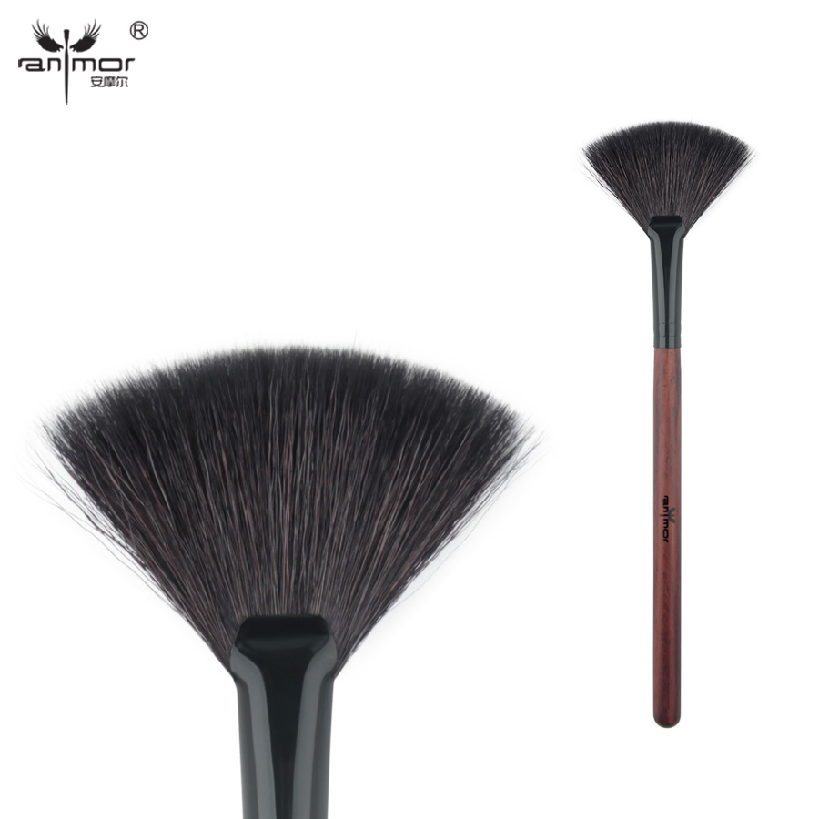 цена на Anmor Goat Hair Fan Brush High Quality Make Up Brushes for Daily or Professional Makeup