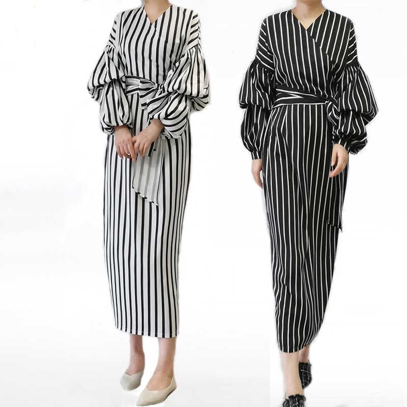 Vestidos 2019 Kaftan Abaya Dubai Arabisch Vrouwen Lange Gestreepte Maxi Moslim Hijab Jurk Caftan Marocain Turkse Islamitische Kleding