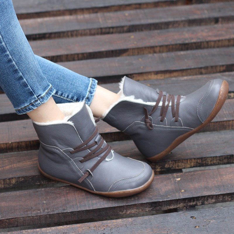 YAERNI (35-42)Womens Boots Winter Shoes Wool Genuine Leather Shoes Round toe Lace up Ladies Ankle Boots Female Footwear (K10)