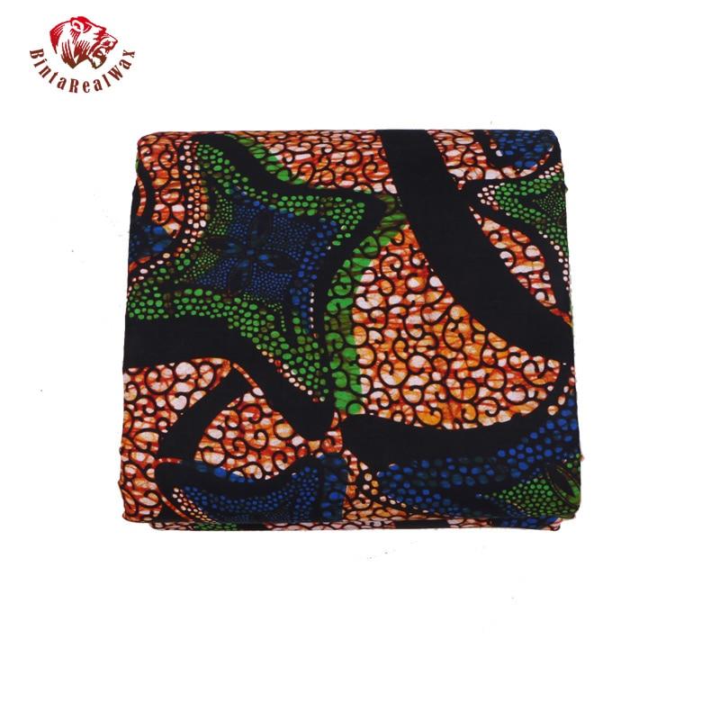 Qualité garantie véritable tissus africains néerlandais réel nouveau bintarealwax vraie cire vêtements africains 100% coton 6 Yards PL487 - 5