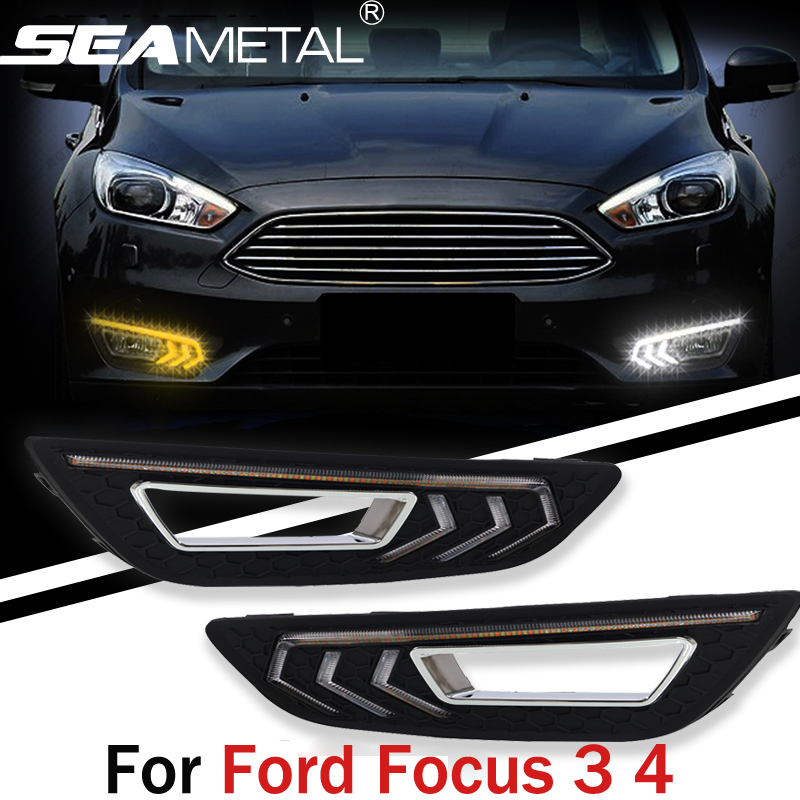 For Ford Focus 3 4 2015 2016 Sedan Hatchback Car Styling DRL Daytime Running Lights Waterproof Decoration Auto Lamp Accessories car headlights for ford focus 3 sedan hatchback 2015 2016 2017 led headlight kit head lights drl turning lights auto front lamps
