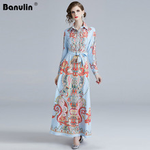 цены Banulin 2019 Runway Designer Dress Women Vintage Print Bow Tie Belt Turn-down Collar Slim Long Sleeve Elegant Long Maxi Dress