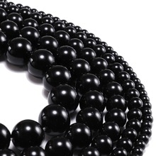 1strand/lot 4 6 8 10 12 mm Natural Stone Smooth Glisten Black Glass Bead Loose Spacer Bracelet Beads Supplier For Jewelry Making