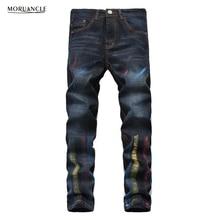 MORUANCLE Fashion Mens Print Jeans Brand Designer Painted Denim Joggers Male Slim Fit Straight Jeans Pants