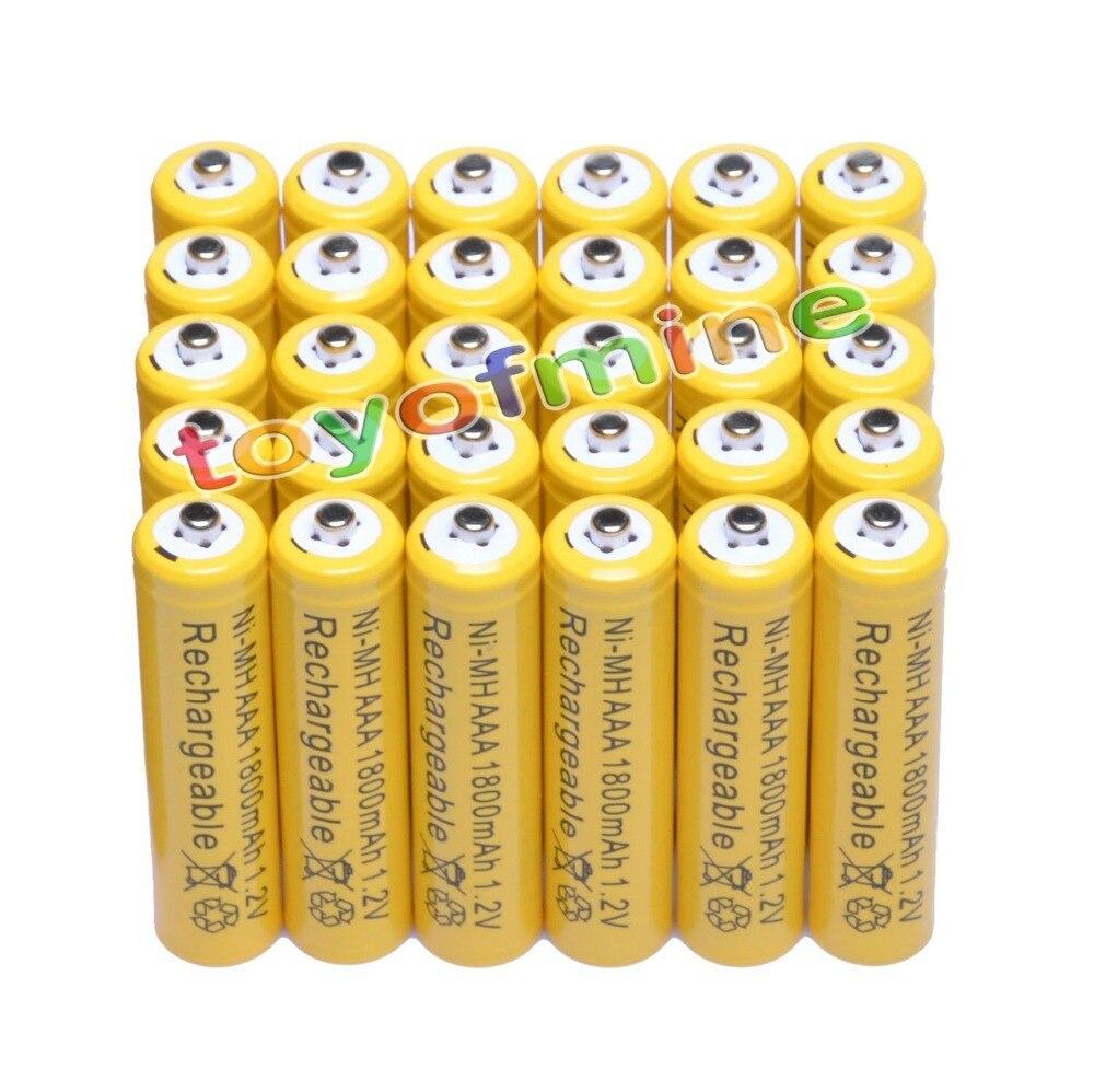 4/10/16/24/30/48/100 piezas AAA 1800 mAh 3A 1,2 V ni-MH amarillo batería recargable, celda para MP3 RC Juguetes led linterna antorcha Luz