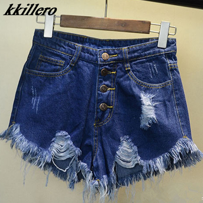 Image 4 - 2019 European and American BF summer wind female blue high waist denim shorts women worn loose burr hole jeans shorts-in Shorts from Women's Clothing