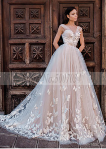 Image 4 - Smileven Boho 웨딩 드레스 2019 3D Appliques 신부 드레스 Vestido De Novia V 넥 나비 웨딩 드레스 Robe De Mariee