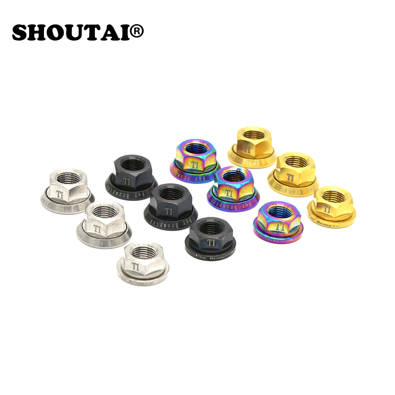 SHOUTAI  Bicycle Hub Rear Wheel Adjustment Nut Set TC4 Titanium Nut + M10 Aluminum Washers For  Brompton Folding Bike PartsSHOUTAI  Bicycle Hub Rear Wheel Adjustment Nut Set TC4 Titanium Nut + M10 Aluminum Washers For  Brompton Folding Bike Parts