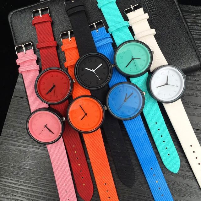 drop ship Fashion Women Unisex Simple Fashion Number Watches Quartz Canvas Belt
