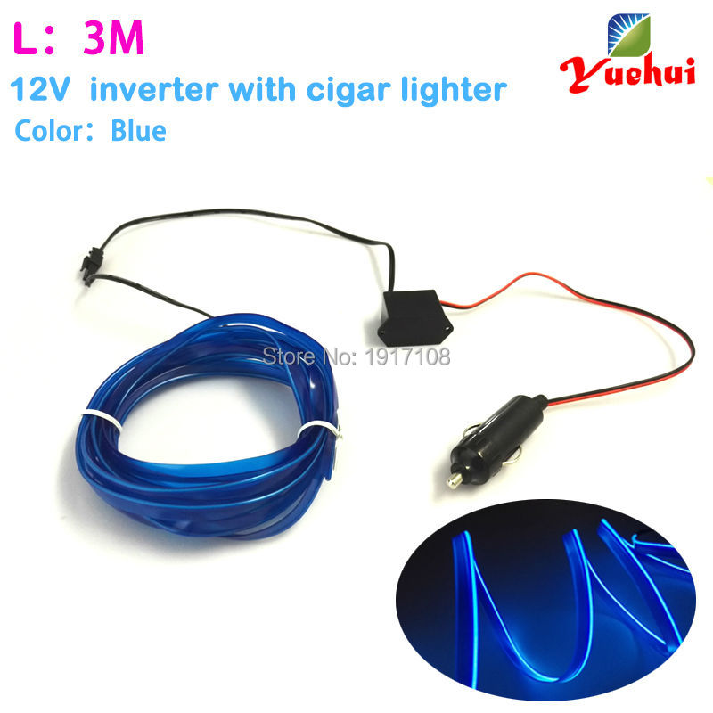 For 1-5 Meter Flexible EL Wire Rope Tube Neon Cold Light For Car Party Decoration 10 Color Choice With DC12V Steady on Inverter