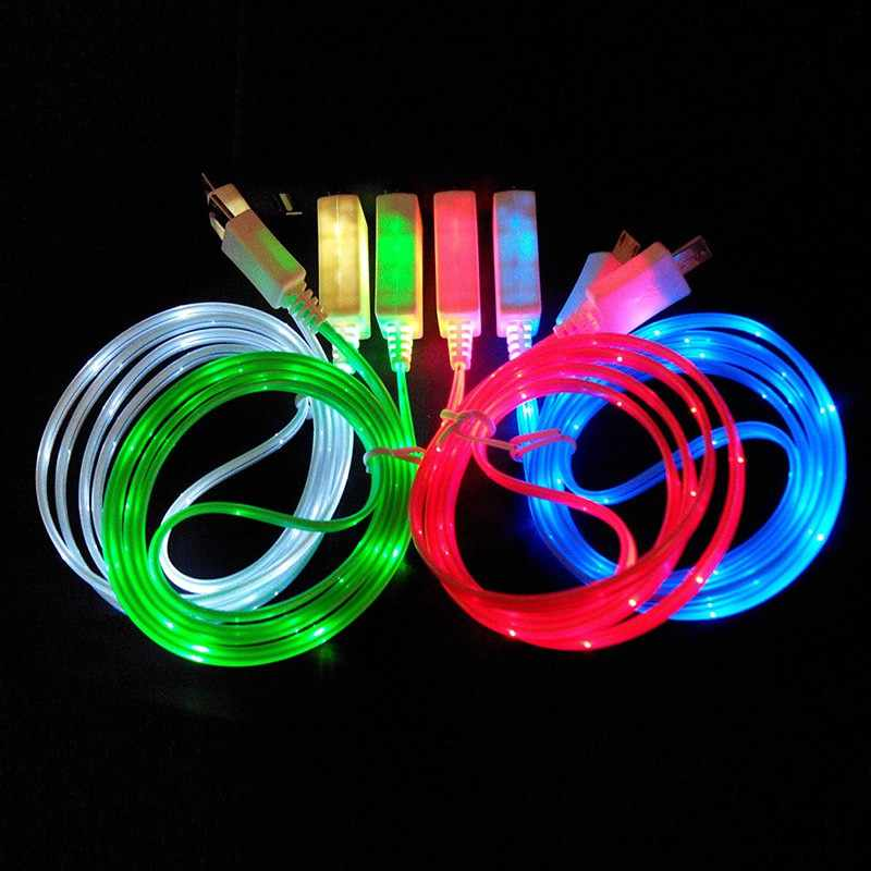 Universal 1M LED Light Luminous Phone Charger Charging Data Sync Transfer Line Cord Cable Wire for Android Phone Micro USB