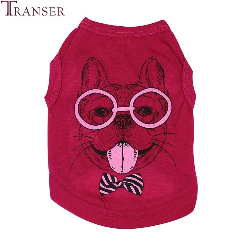 Transer Pet Dog Clothes For Small Dogs Fashion Pug Cartoon Print Sleeveless Hot Pink Dog Shirt Summer Pet Vest 80118