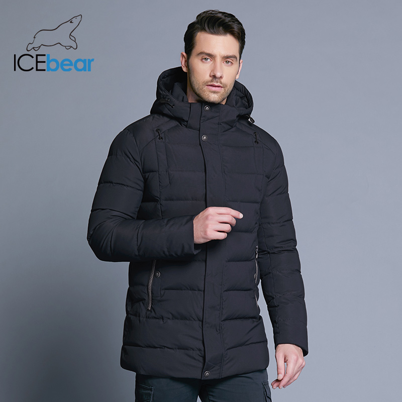 ICEbear 2019 dei nuovi uomini di rivestimento caldo di inverno staccabile cappello maschile breve cappotto di moda casual abbigliamento uomo abbigliamento di marca MWD18813D-in Parka da Abbigliamento da uomo su  Gruppo 2