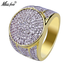 HOT!!! Hip Hop Round 18K Gold Ring Men Prong Setting Solitaire Brand Luxury Ring Micro Pave Diamond Engagement Men Accessories auleeze solitaire 0 20cttw round cut natural diamond couple rings 18k yellow gold men and women engagement wedding ring