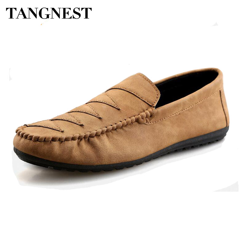 Tangnest Vintage PU Leather Men Loafers Casual Driving Shoes Men British Style Slip-on Flats 2017 Fashion Men's Shoes XMR2634 fashion nature leather men casual shoes light breathable flats shoes slip on walking driving loafers zapatos hombre