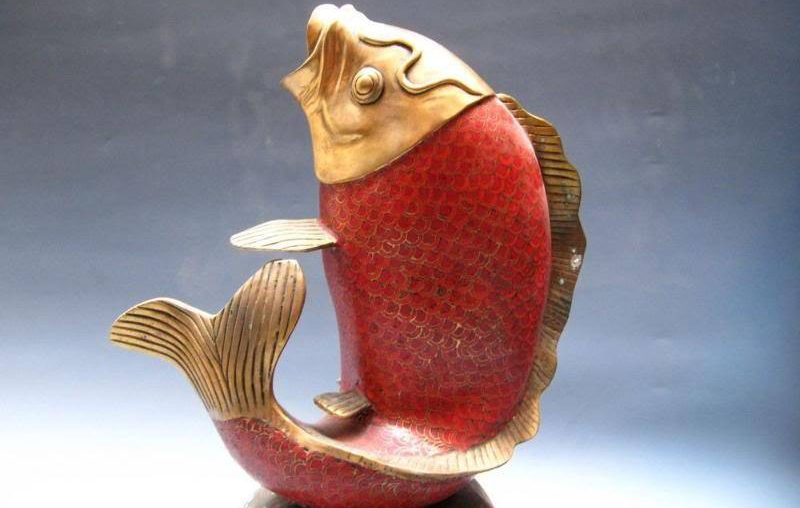 18 Chinese Royal 100% Pure Bronze Handwork Cloisonne Enamel Red Carp Fish Statue
