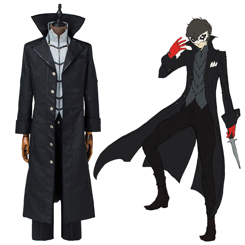 Persona 5 Joker Protagonist Cosplay Costume Jacket Suit Top Long Coat Outfit