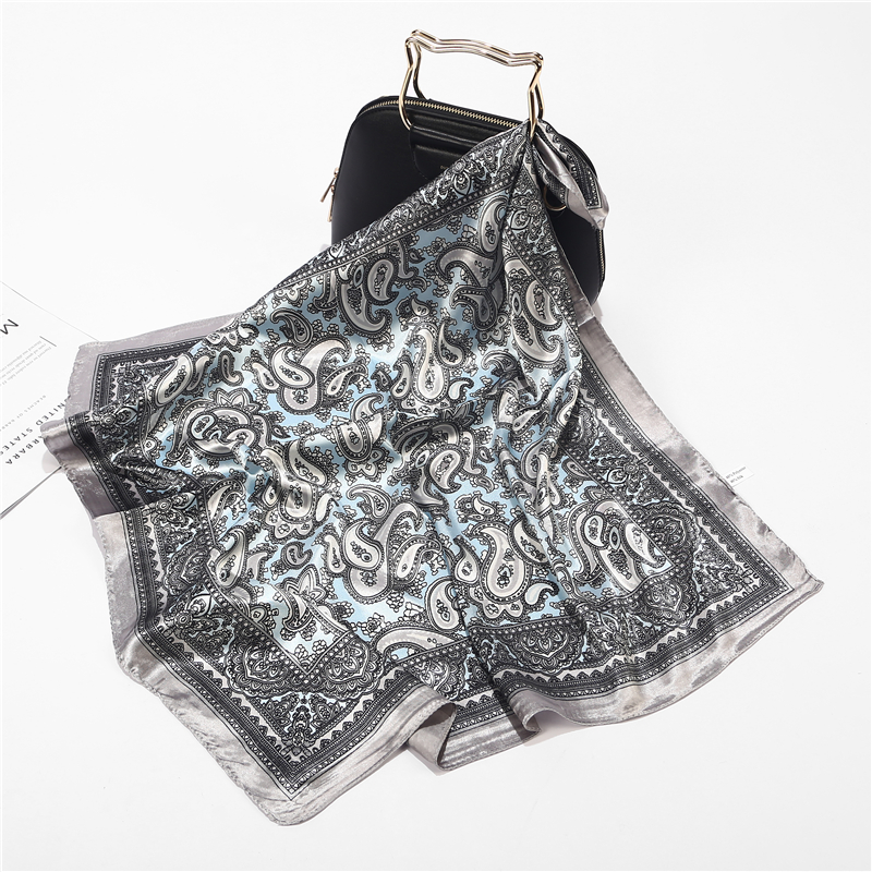 New Summer Luxury Brand Silk Square Scarf Women Plaid Wraps Fashion Print Office Small Hair Neck Hijabs Foulard 60*60cm
