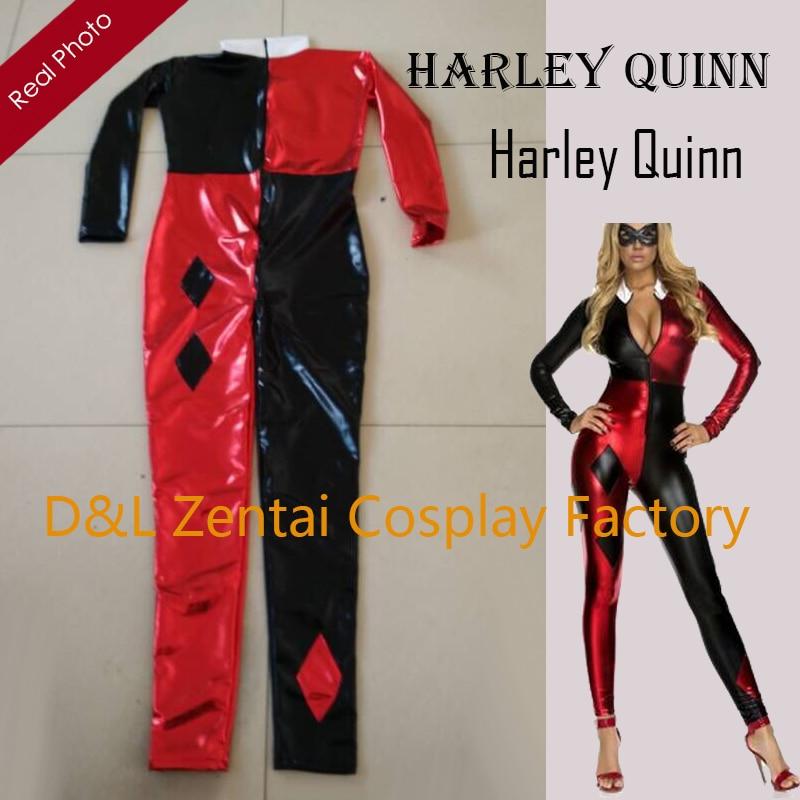 Free Shipping DHL 2015 Sexy Shiny Metallic Villain Harley Quinn Fashion Catsuit Costume Bodysuit For Halloween HQ1213