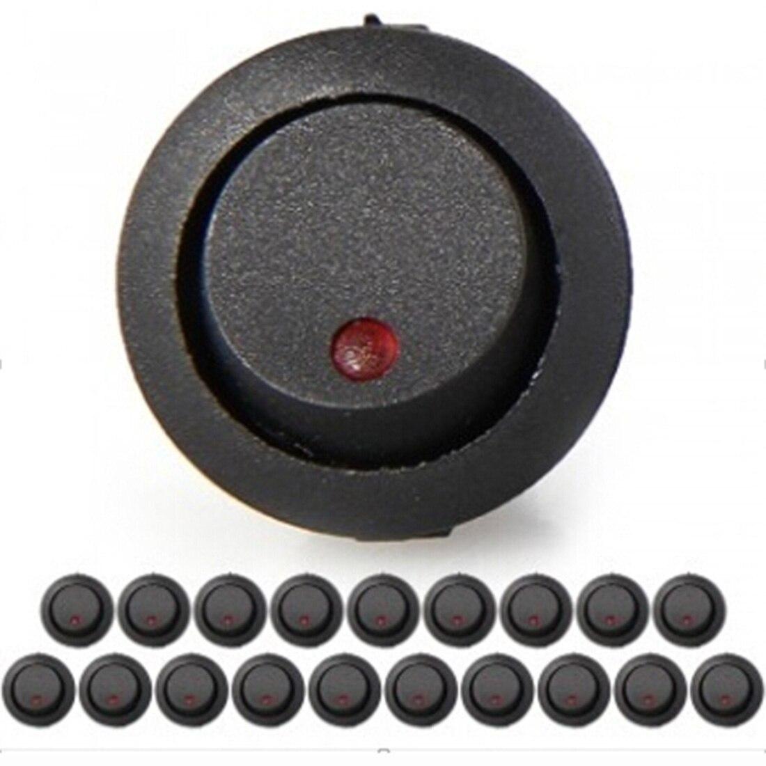Dewtreetali Высокое качество 20 светодиодный индикатор перекидной переключатель 3 Булавки включения-выключения 12 В DC Красный