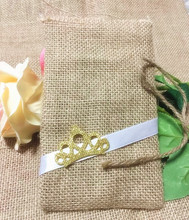 free shipping DIY handmade Jute bag lace candy Little Crown linen wedding  burlag bags