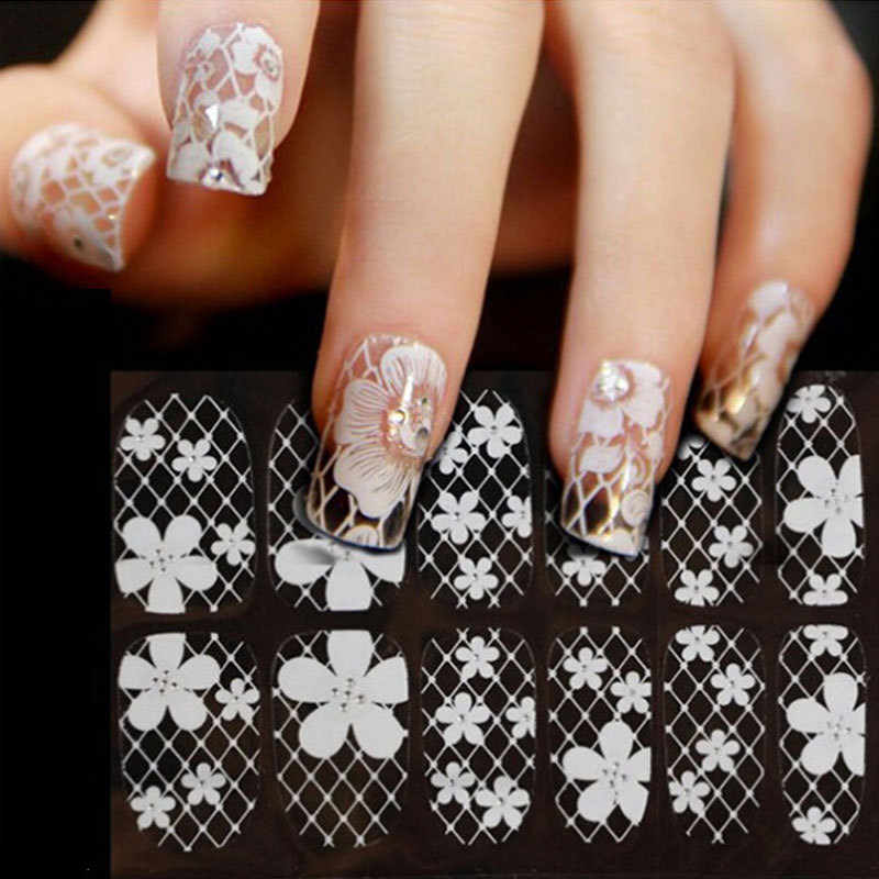 Y-XLWN Explosive Nail Polish Sticker Nail White White Ribbon Drill Full Sticker Bride Nail Sticker  Nail Sticker
