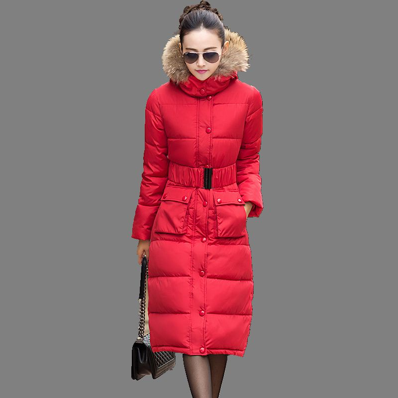 2016 Winter New Women Cotton Down Jacket Elegance Hooded Fur collar Thicken Warm Big yards Slim